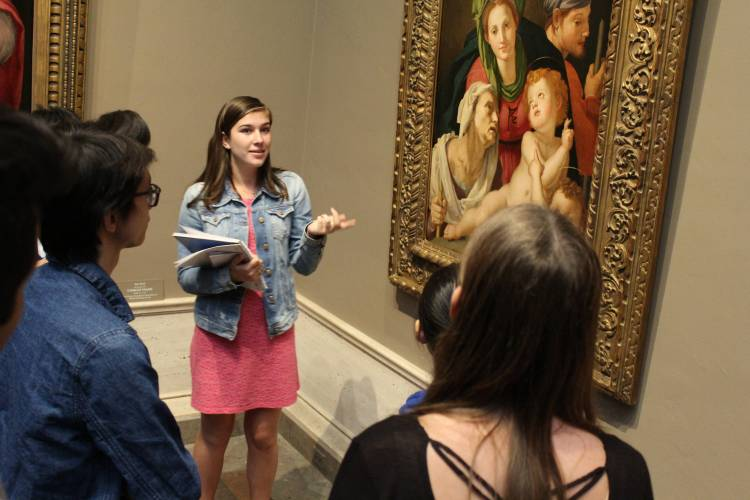 During a field trip to the National Gallery in Washington, DC, FOCUS students make presentations on classical works at the museum. Photo by Lee Sorenson