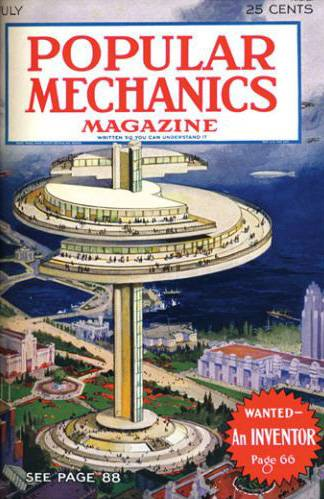 An early issue of Popular Mechanics Magazine featuring a rotating building.