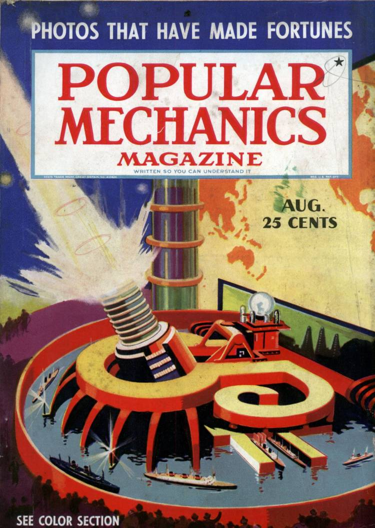 An early issue of Popular Mechanics Magazine featuring a futuristic blast machine.