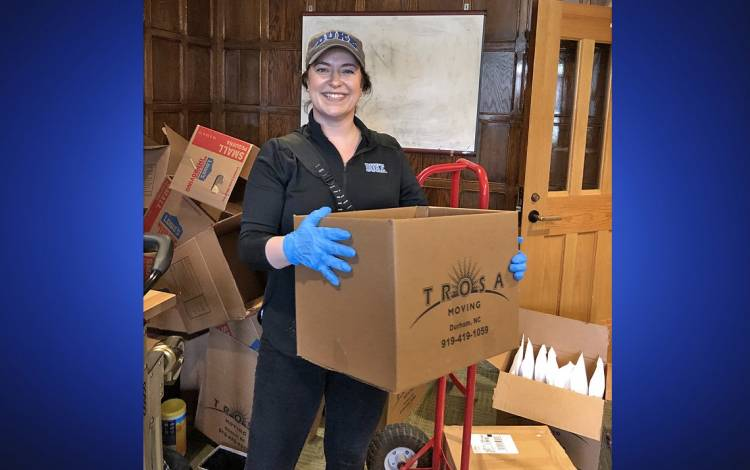 Laura Andrews helped pack up and mail students' belongings from their dorm rooms.