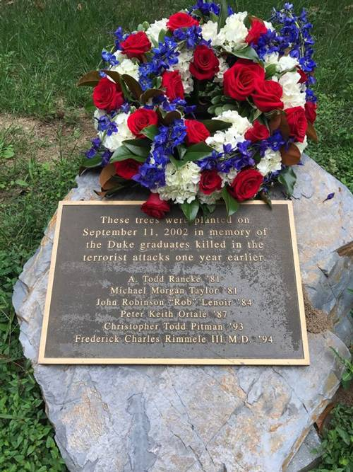 Wreath laid at the 9/11 Memorial Grove today by Alumni Affairs.