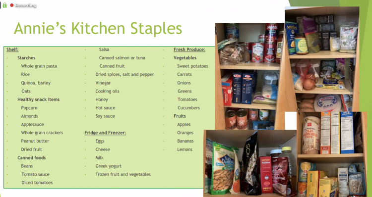 Dietitian Annie Scott shares her list of pantry staples during a Food Matters webinar.
