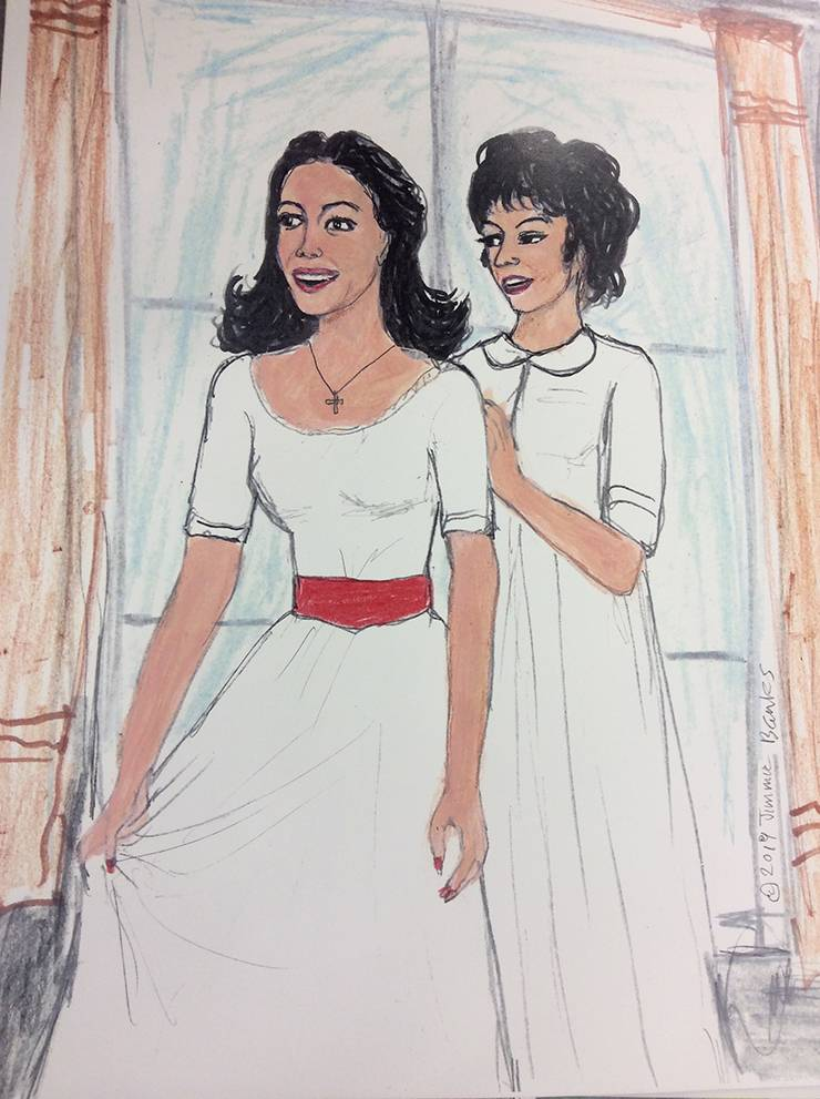 Jimmie Banks drew a scene from West Side Story featuring Natalie Wood and Rita Moreno.