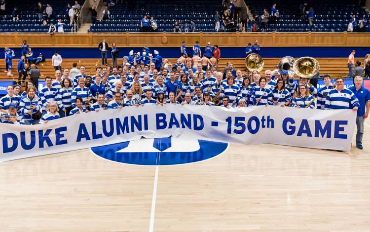 At last season's home game against Clemson, the Duke Alumni Band played its 150th game. Photo courtesy of the Duke Alumni Band.