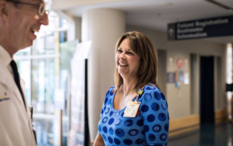 Duke University Hospital Patient Advocate Betsy Faucette is a sympathetic face for those in need of help.