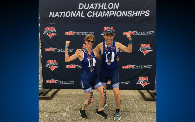 Rochelle Schwartz-Bloom, left, and Paul Bloom, right, celebrate their success in the Duathlon National Championships. Submitted Photo.