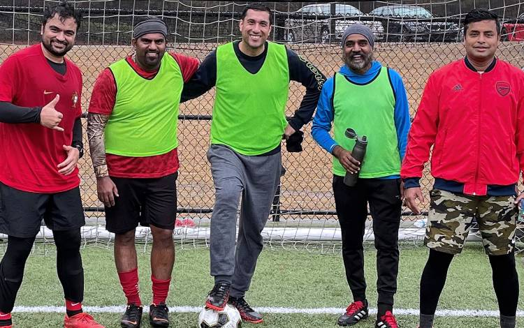Muhammad Butt, center, plays soccer with friends in Cary in 2019. Photo courtesy of Muhammad Butt.