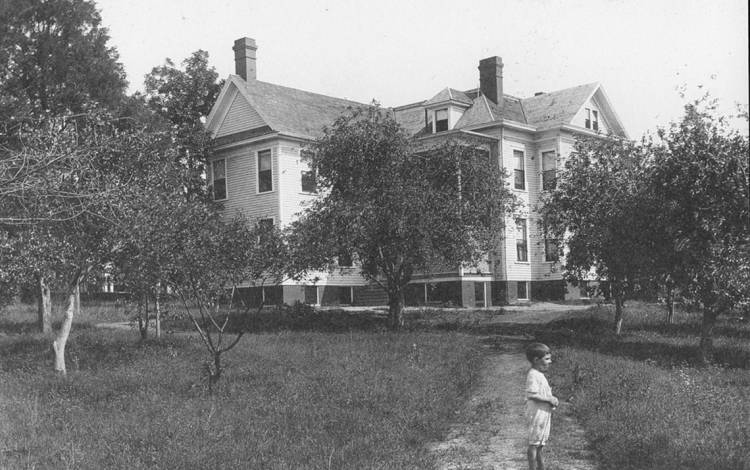 In the 1920s, the building that became known as the Lyndhurst House, was located near the corner of Main Street and Swift Avenue. Photo courtesy of Preservation Durham.