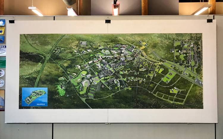 This 1981 campus plan of Duke University hangs in Hector Hernandez's office. Photo courtesy of Hector Hernandez.