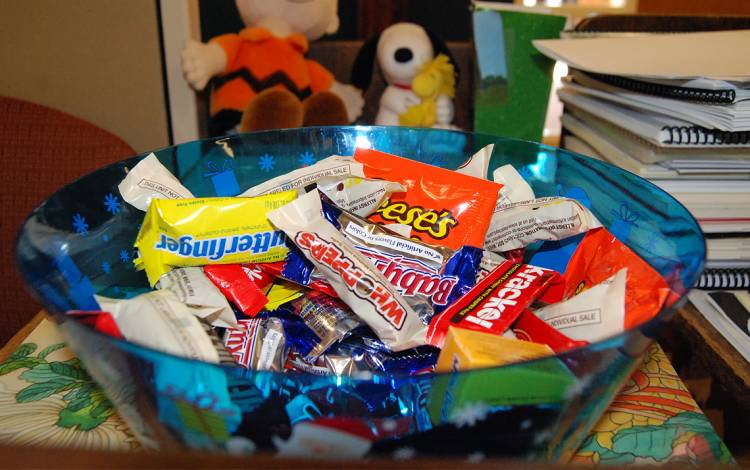 A bowl full of candy.