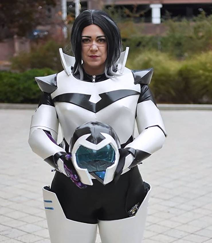 Caroline Morris enjoys making cosplay costumes during her time off. Her favorite, pictured above in 2018, is based on the Netflix show Voltron: Legendary Defender.