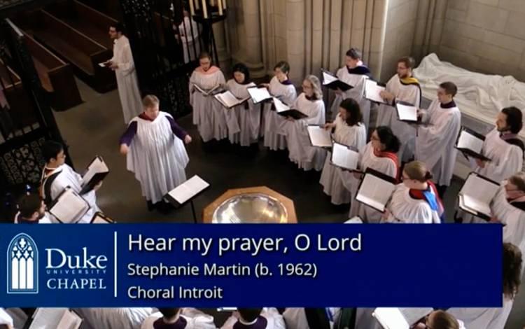The Duke Chapel Choir singing.