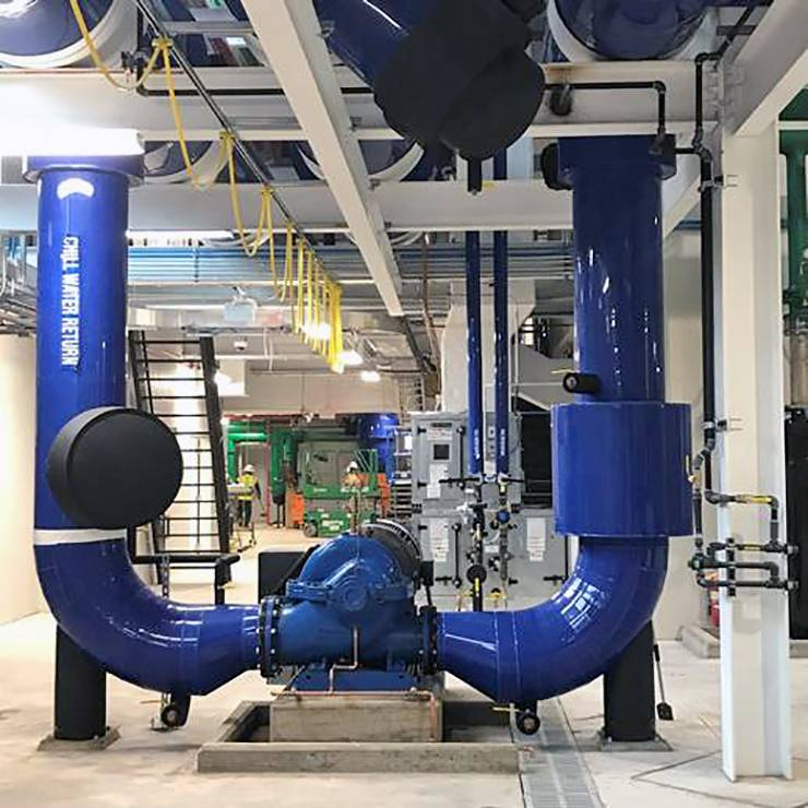 The massive cooling and pumping systems in Chiller Plant No. 3 will help keep Duke's buildings comfortable. Photo courtesy of Duke Facilities Management.