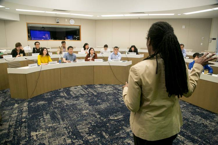 Fuqua Professor Ashleigh Rosette leads a discussion with Kazakh students. Photo by Duke Photography
