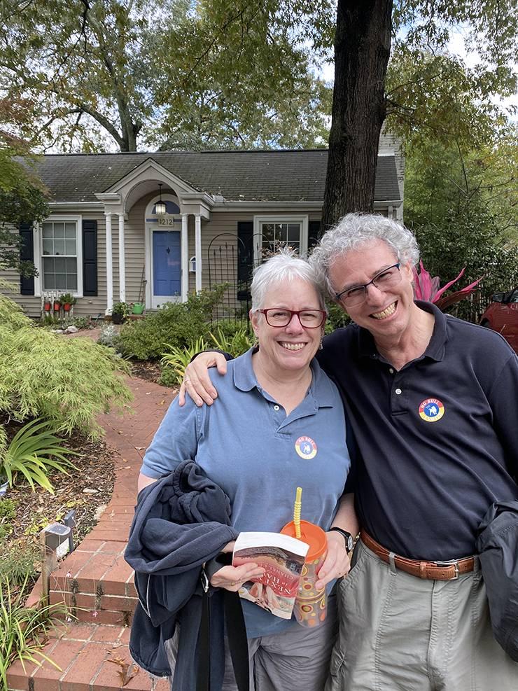 David Stein, right, and his wife, Deborah Horvitz, outside their Durham home. Photo courtesy of David Stein.