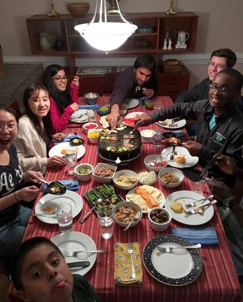 Students continued the discussions about ancient Greece over dinner at Professor Josh Sosin's house.