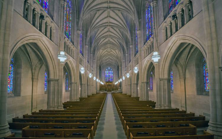 The soaring interior of Duke University Chapel leaves many visitors moved.