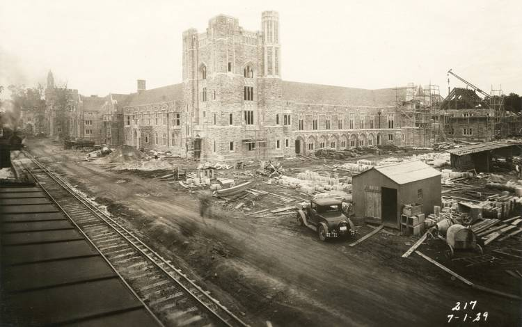 A rail line helped bring Duke stone to West Campus while it was being built. Photo courtesy of Duke University Archives.
