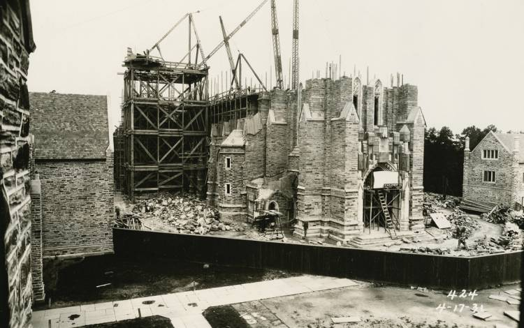 Duke University Chapel under construction with Duke stone in 1931. Photo courtesy of Duke University Archives.