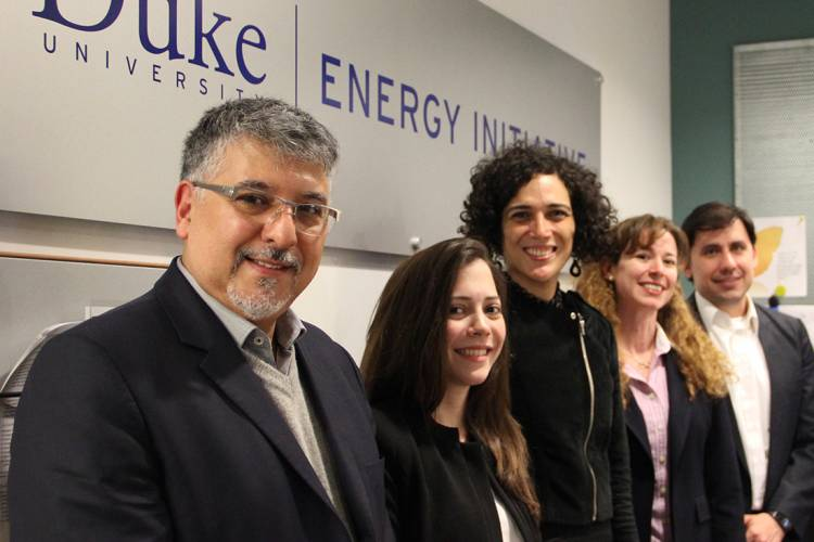 An international working group convened at Duke in April to synthesize information and draft preliminary recommendations. Left to right: Victorio Oxilia, Cecilia Llamosas, Christine Folch, Maria Antonia Gwynn, and Gerardo Blanco.