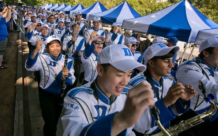 The Duke University Marching Band plays for fans prior to the game.