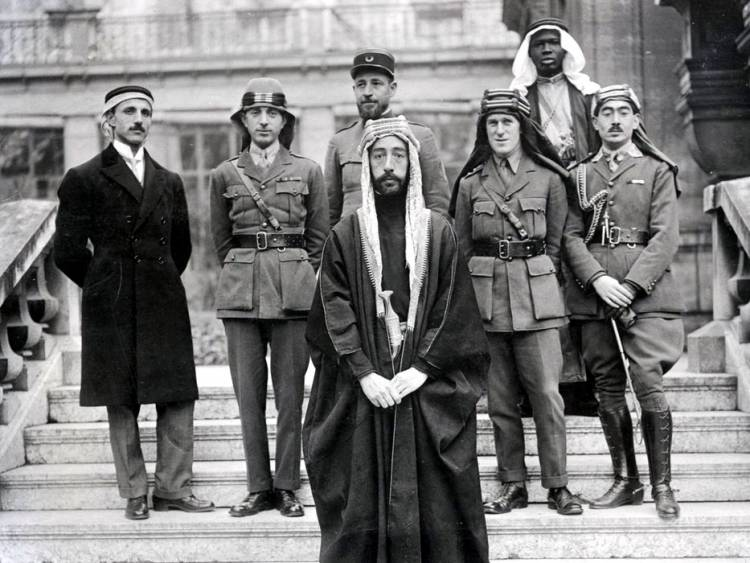 Emir Faisal's delegation at Versailles, during the Paris Peace Conference of 1919.  Via Wikimedia Commons.