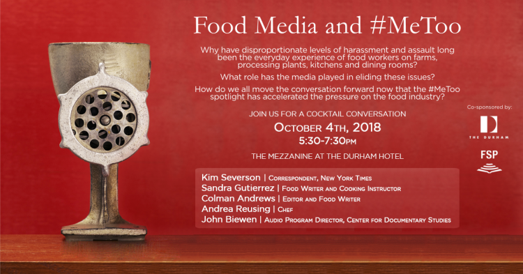 Flyer for the program on sexual harassment in the restaurant industry