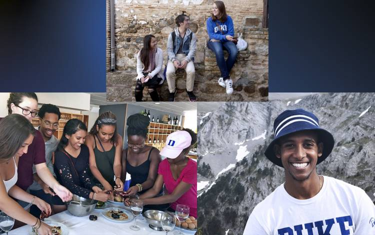 (Left) Students learn how to make Spanish cuisine in Madrid. (Top) Students on the Duke in Madrid program attend an excursion in Toledo, Spain. (Right) A Duke student takes a photo at Mount Olympus.