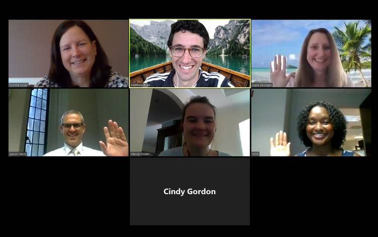 Duke Center for Healthcare Safety and Quality employees meet over Zoom while working from home in April.