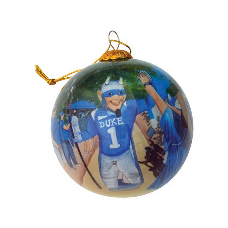 A hand-painted ornament with the Duke Blue Devil.