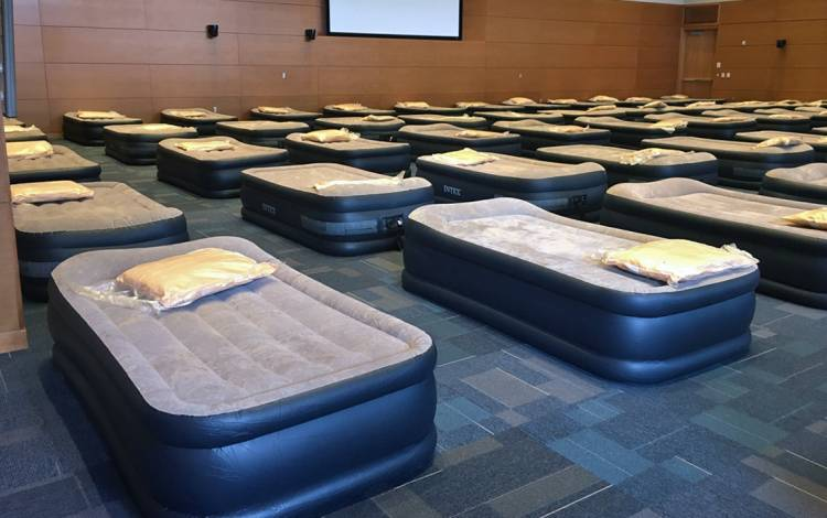Air mattresses were set up in the Trent Semans Center's Great Hall for Duke University Hospital employees to grabs some much-needed rest. Photo courtesy of Duke University Hospital.