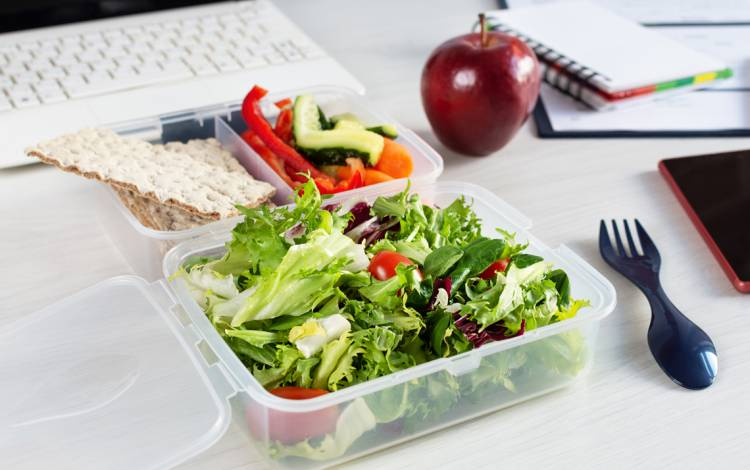 Take a break from working when you have a meal or snack to avoid overeating.