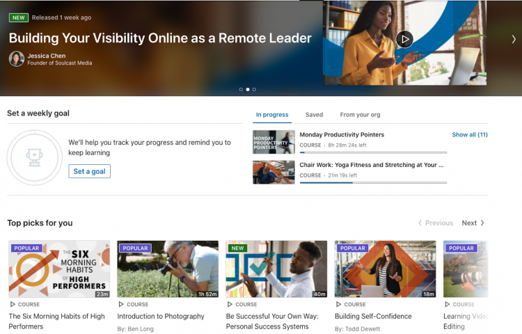 The LinkedIn Learning homepage displays personalized video recommendations. Photo courtesy of LinkedIn Learning.