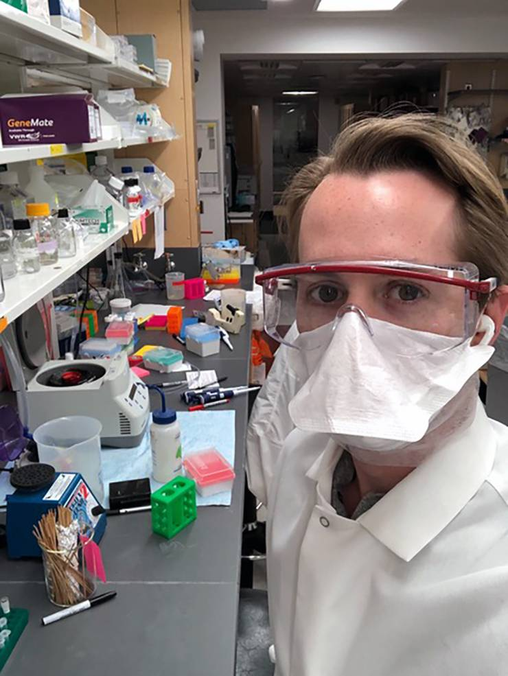 Duke Ph.D student Matthew Sacco works in the lab of Stacy Horner. Photo courtesy of Matthew Sacco.