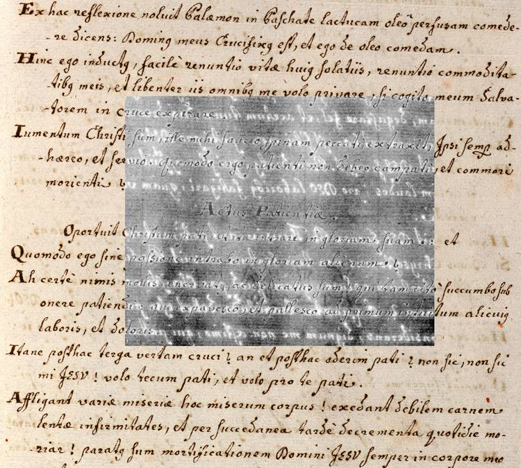 A text with an inset showing underlying text that has been written over