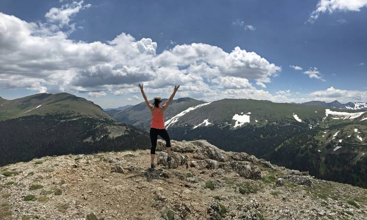 Kathryn Kreider on a hike in the Rocky Mountains.