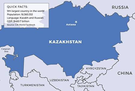 Map and facts about Kazakhstan