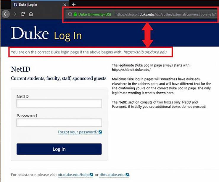 Duke log-in page