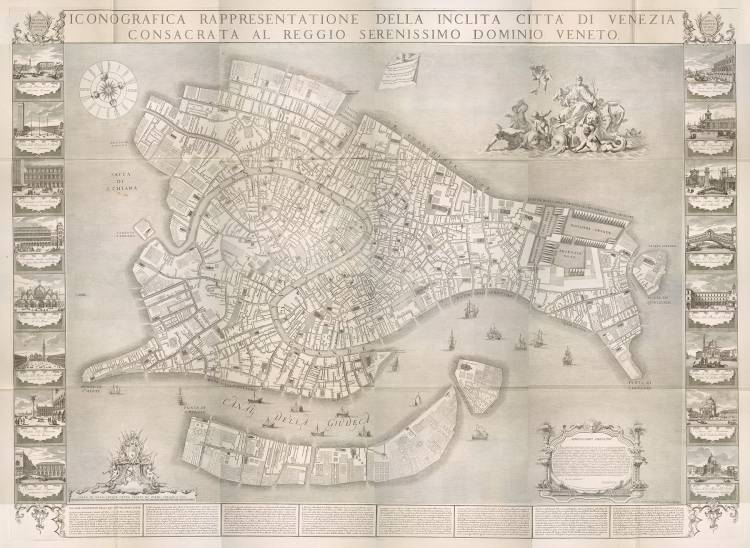 A map of Venice printed from an engraving created by Ludovico Ughi in 1729.