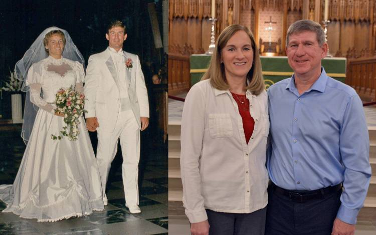 (Left photo) Sandy and Mark King married at Duke University Chapel in 1987. (Right photo) Mark now works at the Chapel as the hospitality coordinator.