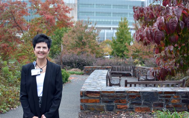 Tracy Berger enjoys weekly visits to the Seese-Thornton Garden of Tranquility for a quick break at work.