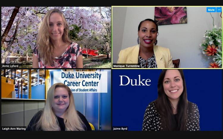 Members of the Duke Career Center employer relations team, including Monique Turrentine, top right. Photo courtesy of Monique Turrentine.