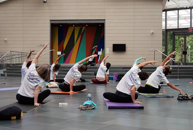 The Nasher Museum of Art hosted a free yoga class on Monday.