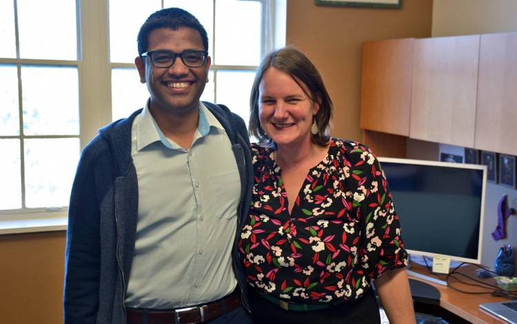 Shashika Bandara, left, and Beth Stringfield, right, share an office at Duke Global Health Institute.