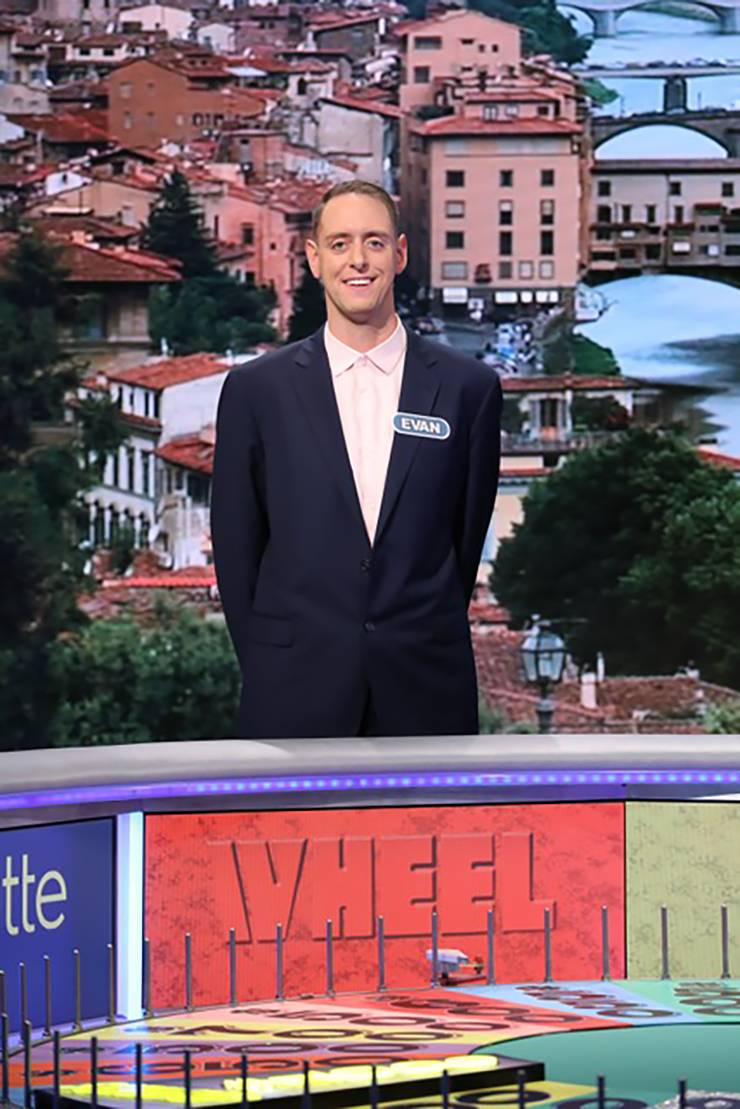 Evan Schroedel during his Wheel of Fortune appearance.