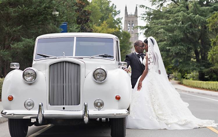 Omobonike Oloruntoba, right, a gastroenterologist at Duke Hospital, married Darrell Sanders at Duke Chapel. Photo courtesy of Omobonike Oloruntoba.