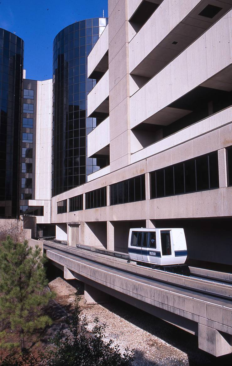 The PRT ran from Duke North to Duke South until 2008. The route between Duke North and Parking Garage No. 2 ran until 2009.