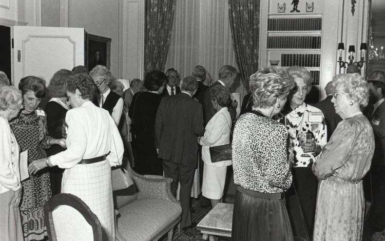 In early 1987, alumni gather to celebrate the recently completed renovations to the East Duke Parlors. Photo courtesy of Duke University Archives.