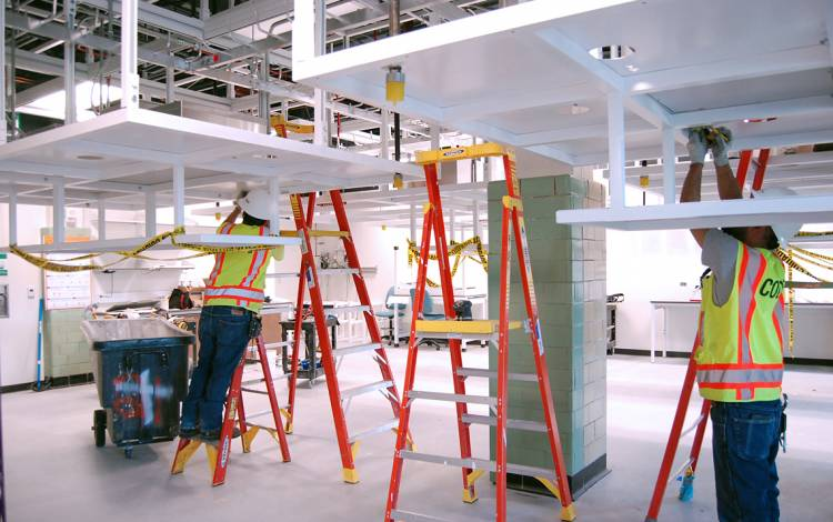 Construction is under way on one of the lab spaces for the Pratt School of Engineering.