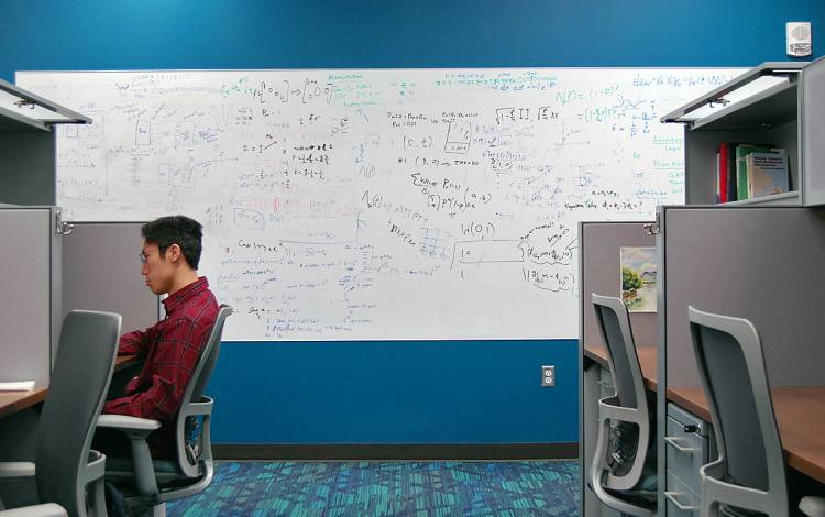 Student James Leung works in one of the Chesterfield's many study spaces.